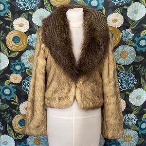 Kaity brand brown n tan faux fur short jacket sz M